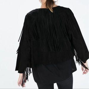 Zara Genuine Suede Leather Black Fringe Jacket